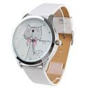 Buy Women's Cartoon Cat Pattern White PU Band Quartz Analog Wrist Watch Cool Watches Unique Fashion