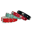 Adjustable Rhinestone Decorated Skull Style Leather Dog Collar (Assorted Color,S-M)