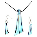 women's Blade-Shaped Coloured Glaze Necklace Earring Jewelry Set