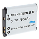 Digital Video Battery Replace Nikon EN-EL19 for Nikon Coolpix S3100 and More (3.7v, 750 mAh)