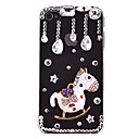 Cute Zircon Waterdrop Hobbyhorse Pattern Hard Case for iPhone 4/4S