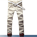 Men's Basic Buttons Slim Flanging Casual Pants