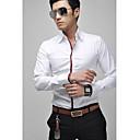 Camisa de manga larga de los hombres delgados con detalles de tuberías