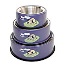 Universal Cartoon Pattern Stainless Steel Bowl with Rubber Bottom for Dogs (S-L)