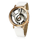 Women's Quartz Analog Hollow Musical Note Style Dial PU Band Wrist Watch (Assorted Colors)