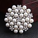kvinners runde rhinestone perle brosje (tilfeldig farge)