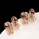 vrouwen Koreaanse diamanten boog zoete oorbellen E450