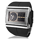 Men's Multi-Function Analog-Digital Steel Square Dial PU Band Wrist Watch