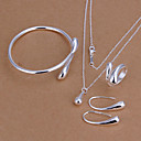 women's Water Drop Silver plated Jewelry set