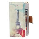 Estilo fresco Eiffel Toalha Padrão PU caso de corpo inteiro com Slot para cartão e suporte para iPhone 4/4S