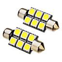 2 Pcs festoon 1W 36mm 6x5050SMD 70-90LM 6000K Cool White Light LED Bulb (12V)