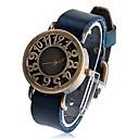 Unisex Runde Leder Quarz Analog Armbanduhr