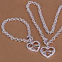 銀は分厚いチェーンネックレスメッキ& ブレスレットの宝石セット