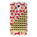 Gold Stairs Rivet and Flowers Pattern Hard Back Cover Case for Samsung Galaxy S4 I9500