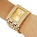 Frauenkleidungsstil Gold Stahlkette Band Quarz-Armbanduhr (farblich sortiert)
