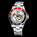 Men's Auto-Mechanical Black & Red Case Hollow Dial Steel Band Wrist Watch (Assorted Colors)