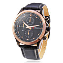 Men's Round Dial Leather Band Quartz Analog Wrist Watch (Assorted Colors)