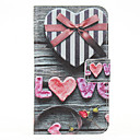 Love Heart Painting Pattern Faux Leather with Plastic Hard Back Cover Pouches for Samsung Galaxy S4 I9500