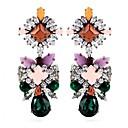 European Style Resin Beads  Crystal Flower Drop Earrings 1 Pair
