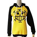 Buy Inspired One Piece Trafalgar Law Anime Cosplay Costumes Hoodies Print Black / Yellow Long Sleeve Coat