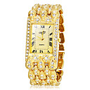 Women's Rectangle Dial Golden Alloy Band Quartz Analog Bracelet Watch (Assorted Colors)