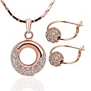 High Class Round Tin Alloy Rose Gold Plated sieraden set