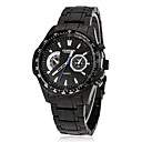 Men's Sporty Round Dial Tungsten Steel Band Quartz Analog Wrist Watch