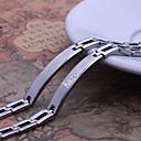 Personlig gåva Simple Design Silver Män smycken Rostfritt stål Graverade ID Armband 0.8cm Bredd