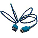 3 ft Flätad Fabric Micro USB 3.0 Data Charger Cable Samsung Note 3 N9000 S5 i9600