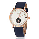 Women's Business Style Gold Case Leather Band Quartz Wrist Watch (Assorted Colors)