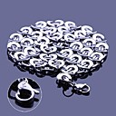 Personalized Gift Silver Men's Stainless Steel Jewelry  Engraved Chain Necklace 1.1cm Width