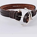 Punk 22cm Men's Silver Alloy Anchor Leather Bracelet