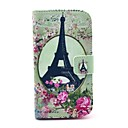 Eiffel Tower Rose Flower Pattern PU Leather Full Body Case with Card Slot Stand for Moto G