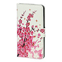 Peach Flowers with Honeybee Stand Wallet Leather Case Protector Fit For Samsung Galaxy S5 I9600