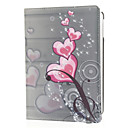 Red Love Heart Pattern PU Leather Face og PC Back Cover 360 ° Rota Full Body sak for iPad Air