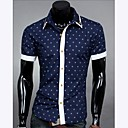 Men's Splicing Color Polka Dots Casual Short Sleeve Shirt