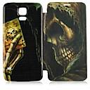 Poker Skulls Patroon PU Leather Full Body Case voor Samsung Galaxy I9600 S5