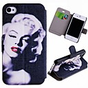 Special Jyvät Sexy Marilyn Pattern PU Full Body Case-korttipaikka iPhone 4/4S