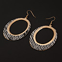 Fashion Leopard Stripe Oval Shape Silver Silver Plated Drop Earrings (1 Pair)