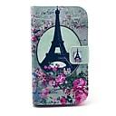Rose Flower Eiffeltårnet Mønster PU lærveske med stativ og kortspor for Motorola Moto E