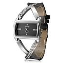 レディース クロスデザイン・アナログクォーツ腕時計 ブラックPUレザーバンド