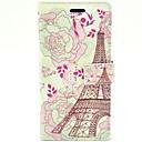Lace Tower med blomst PU læder Hard Case med Stand og Card Slot til HTC One M7