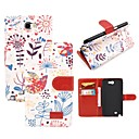 Elonbo Beautiful Flowers Leather Wallet Full Body Case Cover for Samsung Galaxy Note 2 N7100