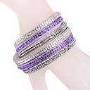 Leather Bracelet Multilayer Purple Rhinestone Bracelet