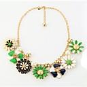 European Fashion Flower Plant Statement Necklace