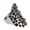 Classic Black Diamanted Silver Statement Ring(1 Pc)