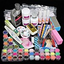 42PCS Acrylic Powder Brush Glitter Clipper File Nail Set