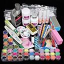 42pcs akryl pulver pensel glitter clipper fil søm sæt
