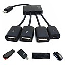 3 in 1 Micro USB OTG HUB Host Adapter Cable for Samsung Smartphone Tablet N9000