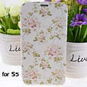 Pink Flowers Pattern PU Leather Full Body Case with Stand for Samsung Galaxy S5 I9600